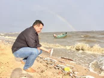 Presidente da Fiperj visita área afetada pela mortandade de peixe em Magé